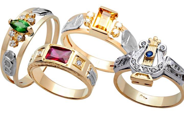 anel de formatura com pedras naturais